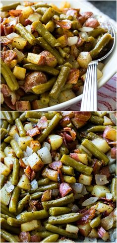Country Ranch Green Beans and Potatoes #sidedish #bacon #easyrecipes #southern