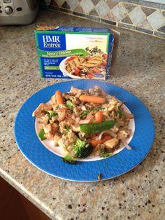 Asian night!  Stir fry veg with hmr savory chicken entree