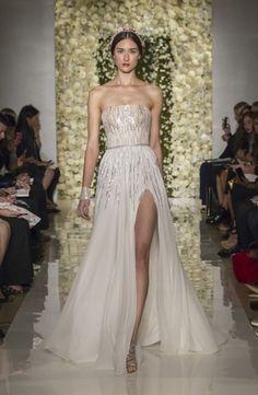 Reem Acra Strapless Sheath Gown in Beaded Embroidery | KleinfeldBridal.com