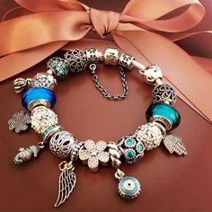 50% OFF!!! $419 Pandora Charm Bracelet Blue Green. Hot Sale!!! SKU: CB01928 - PANDORA Bracelet Ideas
