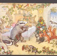 ANIMAL'S CHRISTMAS PARTY,HEDGEHOG,MICE,RABBITS,MOLE,SQUIRREL,BIRD BRETT,POSTCARD