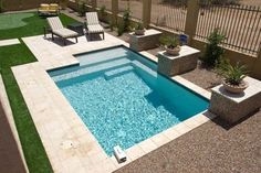 """Cocktail pools,"" or ""spools"" (small+pool, spa+pool) for small yards. Small Inground Pool, Small Swimming Pools, Small Backyard Pools, Backyard Pool Designs, Swimming Pools Backyard, Swimming Pool Designs, Backyard Ideas, Small Patio, Patio Ideas"