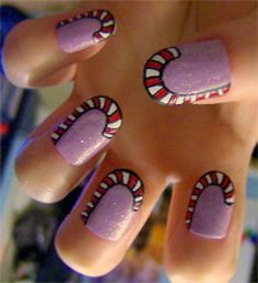 Candy Cane nails :)