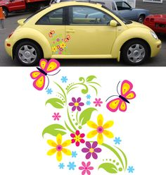 Girly Car Flower Graphics Stickers Vinyl Decals 2