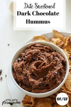 5 ingredient dark chocolate hummus sweetened with dates! Perfectly paired with apple chips, fresh fruit, or spread on toast. Quick and easy recipe for dessert or a sweet appetizer. // Flora And Vino -- #oilfree #glutenfree