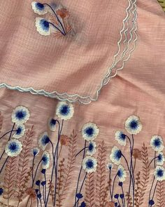 Embroidery Suits Punjabi, Embroidery On Kurtis, Hand Embroidery Dress, Kurti Embroidery Design, Floral Embroidery Patterns, Embroidery On Clothes, Embroidery Fashion, Hand Embroidery Designs, Velvet Dress Designs