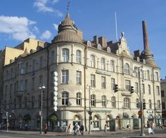 This splendid residential and office building on the Central… Etched Glass Windows, Round Arch, Examples Of Art, Art Nouveau Architecture, Helsinki, Finland, Taj Mahal, Louvre, Old Things