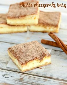 Recipe for churro cheesecake bars - two layers of crispy churro crust filled with a creamy ch. Recipe for churro cheesecake bars - two layers of crispy churro crust filled with a creamy cheesecake layer. Two yummy desserts combined Sopapilla Cheesecake Bars, Cheesecake Desserts, Köstliche Desserts, Delicious Desserts, Dessert Recipes, Recipes Dinner, Mexican Desserts, Cheesecake Brownies, Plated Desserts