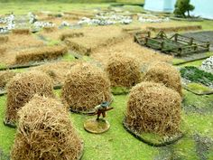 Wargaming with Silver Whistle: Making Haystacks whilst the sun shines. Wargaming with Silver Whistle: Making Haystacks whilst the sun shines. Game Terrain, 40k Terrain, Wargaming Terrain, Wargaming Table, Train Miniature, Model Training, Warhammer Terrain, Modeling Techniques, Modeling Tips