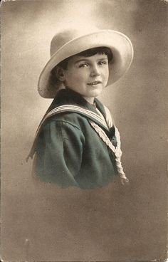 POSTCARD RPPC British Antique Vintage Edwardian hand tinted photo, sepia greetings card, child, boy in sailor suit