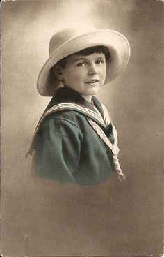 Sailor suit, cute child, Edwardian postcard, hand tinted, vintage children…