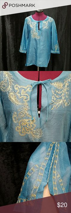 Chico summer top size 0 Chico summer top size 0, with gold embroidery Chico's Tops Blouses