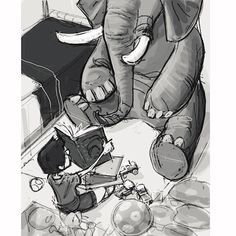 There's an elephant in my room #elephant #reading #unexpectedguest #elephantroom #illustration #davidhohn