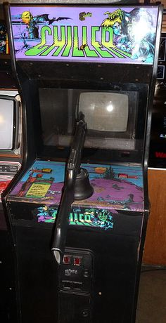 Chiller by Exidy (Arcade) 1986. A cartoony but still very graphic and gory video game.  Shooting torso's to peaces in the cemetery, shooting body parts in a dungeon with a river of blood!  You won't find many public arcade games in the US like this one.
