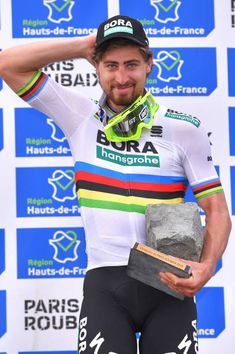 Podium / Peter Sagan of Slowakia and Team BoraHansgrohe / Celebration / Trophy / during the Paris Roubaix 2018 a race from Compiegne to. Bicycle Race, Bike, Paris Roubaix, Mtb, The Man, Celebration, Racing, Classic, Hs Sports