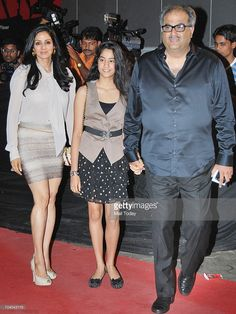 Sridevi with husband Boney Kapoor and daughter Jhaanvi at the screening of the film Dabangg in Mumbai on September 9, 2010.
