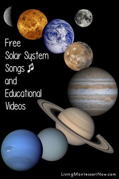 Lots of free solar system songs and educational videos for a variety of ages; perfect for home or school - Living Montessori Now #solar system #homeschool #preschool #astronomy #solarsystemsongs #spacesongs 5 Month Old Baby Activities, Space Activities For Kids, Infant Activities, Solar System Song, Earth And Solar System, Space Theme Preschool, Free Songs, Montessori Education, Educational Videos