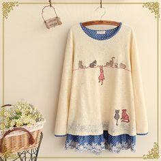 2016春装新款 日系森女系长袖圆领蕾丝刺绣卡通假两件T恤打底衫女