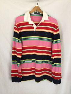 2c280596 POLO RALPH LAUREN VINTAGE Men's L/S Rugby Shirt Size L Pink Stripe Multi  Color