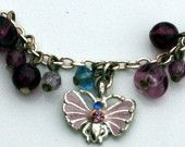Pink Butterfly Charm Bracelet with Purple and Blue Beads