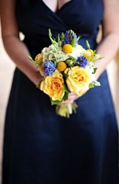 Blue and yellow bouquet, modern.