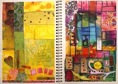 Art journal pages inspired by modern quilting and embroidery, by Peony and Parakeet
