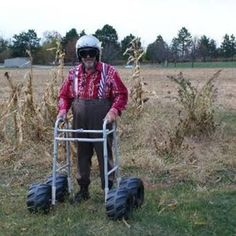 Us country folks in eighty years...helmet and all!  But that garden looks like it may have some hazards in it!