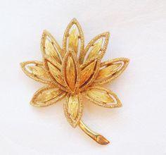 Vintage AVON Gold Lotus Flower Brooch Avon by SentimentalSue