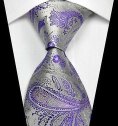 New Classic Paisleys Silver Purple JACQUARD WOVEN 100% Silk Men's Tie Necktie