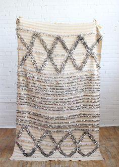 Vintage Handira wedding blanket with metallic sequins, Baba Souk Art Marocain, Moroccan Wedding Blanket, Style Deco, Textiles, Moroccan Decor, My New Room, Rugs On Carpet, Hall Carpet, Decoration