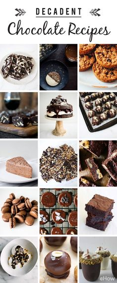 Who doesn't love chocolate?! If you have a sweet-tooth, this list of decadent chocolate recipes is a must-read! From fudge to brownies to dark chocolate banana bites to marbled chocolate bark and more, this list is full of EASY dessert recipes you need: http://www.ehow.com/how_12343125_decadent-chocolate-recipes-sweettooth-scenario.html?utm_source=pinterest.com&utm_medium=referral&utm_content=curated&utm_campaign=fanpage