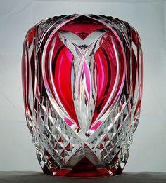 Belgian crystal Val Saint Lambert vase, Cranberry to Clear, Made in Belgium