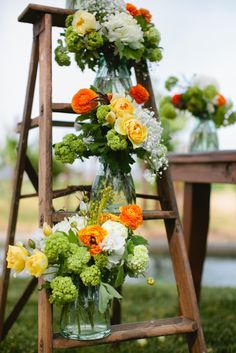 Floral Decor, use different flowers for wedding, but love the ladder
