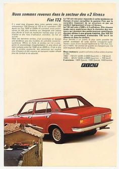 Red Fiat 132 4-Door Sedan Photo French (1972)