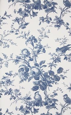 Isabelle Green Toile Wallpaper from Thibaut. A floral toile wallpaper featuring birds perched in flowing rose branches. Also available as a fabric. Bathroom Wallpaper Navy, Toile Wallpaper, Floral Print Wallpaper, Victorian Wallpaper, Blue Wallpapers, Wallpaper Backgrounds, Iphone Wallpaper, Flower Background Wallpaper, Trendy Wallpaper