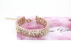 Metal Bracelet Women Pink Woven Bracelets Charm Bangles