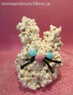 Easter Bunny Cake Popcorn Balls - fun for the kids to make! #Easter