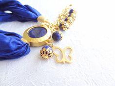 Lapis Lazuli BraceletTurkish Silk BraceletGold by sevinchjewelry, $32.00