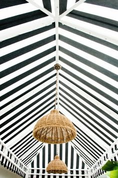 Make an impact with this black & white striped marquee/tent. Hang some contrasting light fittings (yellow would look fabulous).