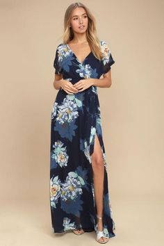 #Lulus - #Lulus On the Pond Navy Blue Floral Print Maxi Dress - AdoreWe.com