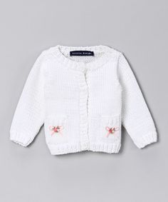 Take a look at this Loralin Design White Embroidered Knit Cardigan - Infant on zulily today!