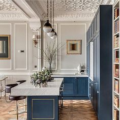 dreamy kitchen in blue!! so elegant.
