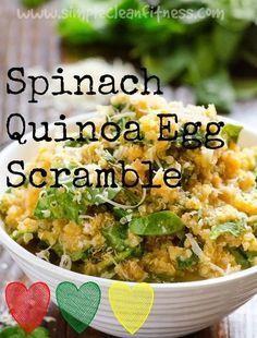 Spinach Quinoa Egg Scramble - 21 Day Fix Recipes - Clean Eating Recipes Breakfast recipes weight loss healthy eating recipes - 21 Day Fix Meals - http://www.simplecleanfitness.com