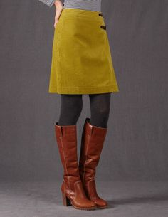 Boden Cord Kilt is perfect for fall! #boden #fromlondonwithlove www.bodenusa.com-- like color and design of skirt although would prefer a longer skirt