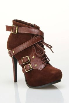 #Brown Lace Up Bootie