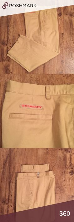 Burberry Golf Khaki Capris Burberry Golf Khaki Capris. Iconic Burberry print on one belt loop and inside seam of waist. Inseam approximately 22 inches and 14 1/2 inches flat lay waist. Size 6. Burberry Pants Capris