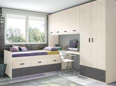 Dormitorio juvenil de tipo puente con 2 camas y zona de estudio...