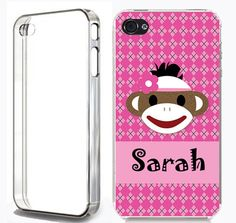 Custom plastic PERSONALIZED Monogram Case for iPhone 4 4s or 5 5s 6 Sock Monkey #cheapchristmasgift