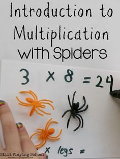 Introduction to Multiplication with Spiders is the perfect hands on math activity for fall and Halloween!