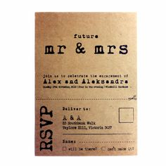 Rustic Engagement Invitation  KRAFT envelope  by AnnsPaperie, $3.00